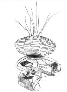 Sonnenweranda, 2007, Tusche auf Papier, 59,4 x 84 cm
