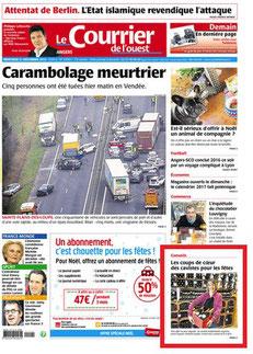 Courrier de l'Ouest, 21 décembre 2016, Les coups de cœur des cavistes pour les fêtes, La Cave Beaurepaire Angers
