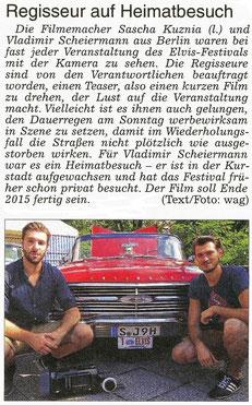 Regisseur auf Heimatbesuch, WZ 22.08.2015, Text/Foto: wag