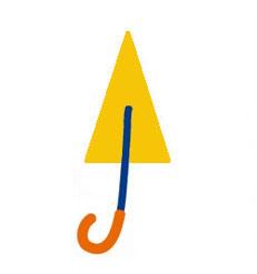 B.閉じている傘