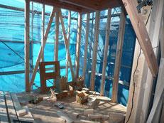 無垢の木でつくる 台東区 木造3階建て耐火建築物 間柱・筋違画像1