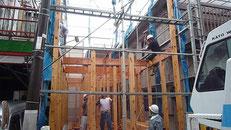 無垢の木でつくる 台東区 木造3階建て耐火建築物 上棟画像2