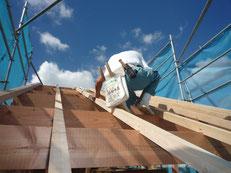 無垢の木でつくる 台東区 木造3階建て耐火建築物 屋根垂木工事画像2