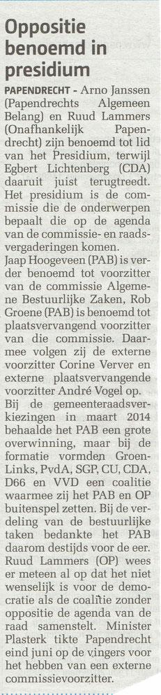 Artikel verschenen in het Papendrechts Nieuwsblad van 22 juli 2015