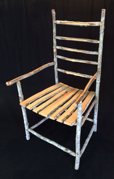 Soap tree armchair, soap tree slats seat, spokeshaved arms & back slats, natural wax finish, 110cm high x 60cm wide x 60cm deep.  SOLD