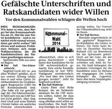Artikel in der STIMBERG ZEITUNG am 11. April 2014: Gefälschte Unterschriften und Ratskandidaten wider Willen