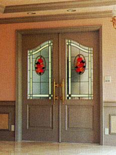 赤い花デザインのステンドグラス
