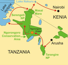 Karte Reise Kenia Campingsafari 10 Tage von Arusha nach Nairobi