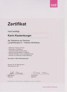 Lymphologie III Zertifikat Karin Kautenburger