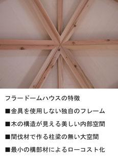 フラードームハウスの特徴:金具不使用の独自フレーム・見せても美しい構造・間伐材で大空間