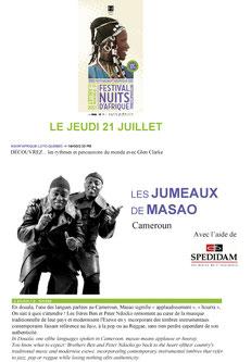 Les jumeaux de Masao article Festival Nuits d'Afrique