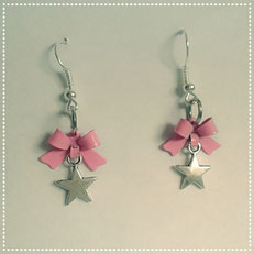 Star Earrings with Pink Bows