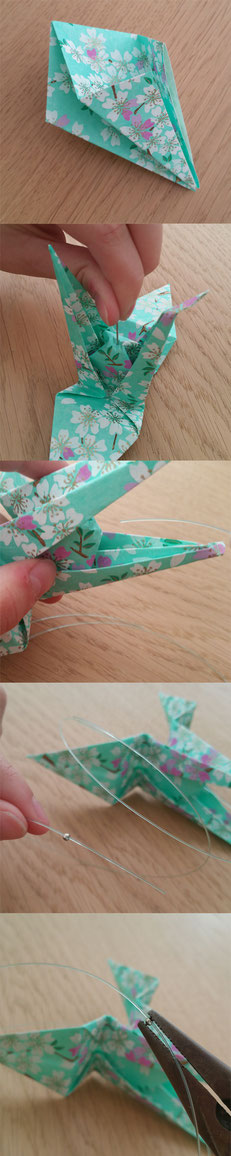 Étapes de création de l'Origami Grues - Crédit photo : Hésione Design
