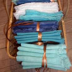 Serviettes de table en tissu anciens (métis, lin, chanvre). La Mue Créations