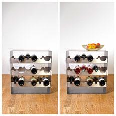 Das Design Weinreglal kann in verschiedenen Höhen genutzt werden, je nach Bedarf.