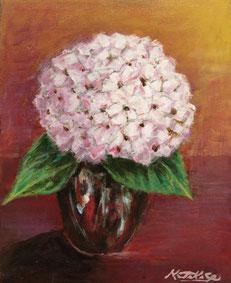 「花瓶と紫陽花」F3 アクリル画