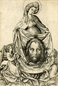 (14) Meister E.S., Saint Veronica Holding the Sudarium with Jesus's Face, c. 1450–67, woodcut, no. 1895,1214.113, British Museum / London