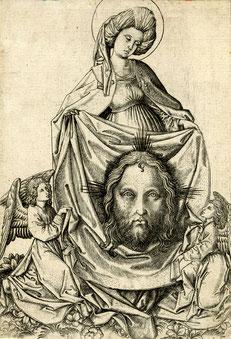 (Bild 14) Meister ES, Die Heilige Veronika, das Sudarium mit Jesu Gesicht haltend, um 1450-1467, Holzschnitt, Nr. 1895,1214.113, British Museum / London