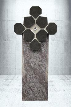 Grabstein mit  Swarovski-Kristall