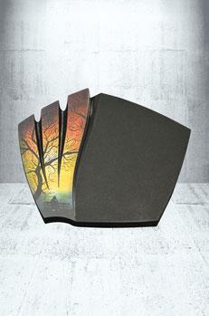 Grabplatte Airbrush-Ornament Baum mit Bank