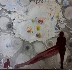 Titolo, esplosione cosmica. Anno, 2015.  Tecnica. Figura ad olio su sfondo EBRU. SU TELA..  dimensioni, cm 40 x cm 40.