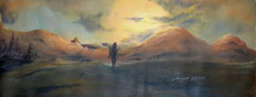 Titolo, quella solitudine che ci rende piu forti. Anno 2015.  Tecnica, olio su tela.  Dimensioni cm 90 x cm 37    serie cammino di Santiago
