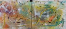 Titolo,  vento di passioni.   Anno, 2015. Tecnica mista su tela. Dimensioni cm 120 x cm 40.