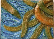 Bassorilievo in muratura, serie girapolpo.  Anno 2008