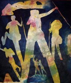 Titolo. Animo anime.  Anno, 2015.  Dimensioni Cm 100 x cm 103. Tecnica,  olio su tela.    Serie cammino di Santiago
