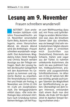 """Lesung """"100 Jahre Frauenwahlrecht"""""""
