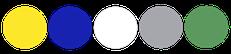 Paleta de colores amarillo con azul navy blanco verde y plateado
