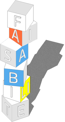 """Empilement de cubes de couleur comportant l'inscription """"Faisabilité"""""""