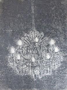 chandelier2 木版画 50x37cm