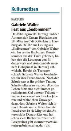 Artikel aus der Donauwörther Zeitung vom 10. März 2020