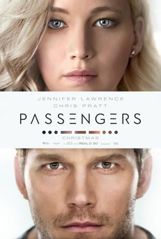 Movie Poster of Chris Pratt and Jennifer Lawrence in the movie Passengers. Image courtesy of Sony Pictures.