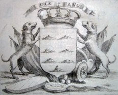 """Das Wappen der Kanaren von 1772. José De Viera y Clavijo - Gravierkunst in """"Noticias de la Historia General de las Islas de Canaria""""."""
