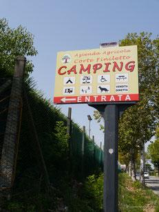 Einfahrt zum Campingplatz kurz vor Verona