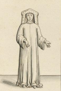 Chanoine capitulaire coiffé de l'aumusse - Dessin de 1411 (BNF).