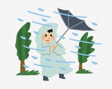 暴風雨 傘が裏返しになるイラスト