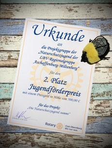 Foto einer Urkunde vom Jugendförderpreis des Rotary-Clubs Obernburg