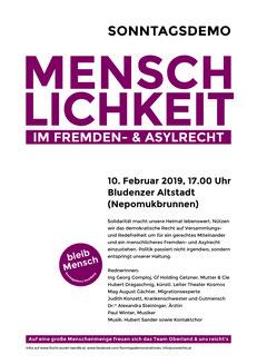 Plakat Sonntagsdemo in Bludenz  Bild/Plakat: veranstalter Team Oberland