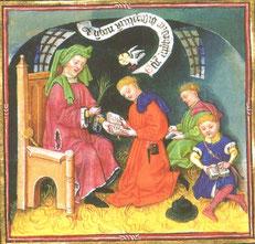 Une salle de classe. Maître en chaire et élèves sur la paille. New York, Pierpont Morgan Library, ms 917. Temple de Paris