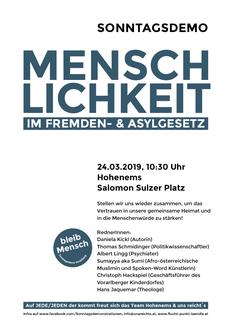 Plakat Sonntagsdemo in Hohenems  Bild/Plakat: Veranstalter Demoteam Hohenems