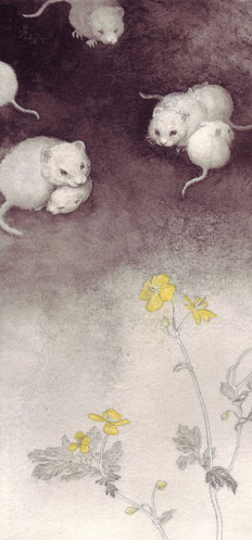 清明の花 14x30cm  墨・岩絵具・和紙