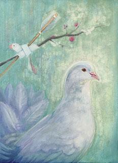 「矢絣と結び文に鳩 -doves buzz-」 F4 パステル日本画
