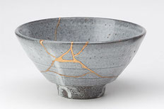 A ware repaired with kintsugi