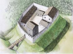 Rekonstruktionsbild der Burganlage um 1200. Amt für Archäologie TG
