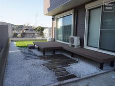 ウッドデッキ、人工デッキ、コンクリート枕木、人工芝、雑草対策、白砕石砂利、ザバーン240、施工例