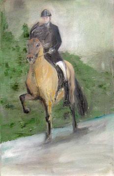 Katrin Reinert auf Djarfur van Lukkubæ, Öl auf Baumwollgewebe, 45 x 80 cm, 2005