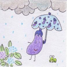 梅雨のある日のなすびちゃん